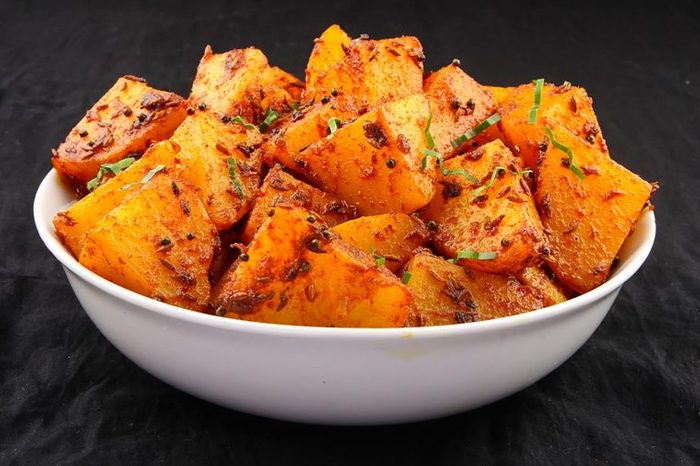Bowl of spicy potatoes.