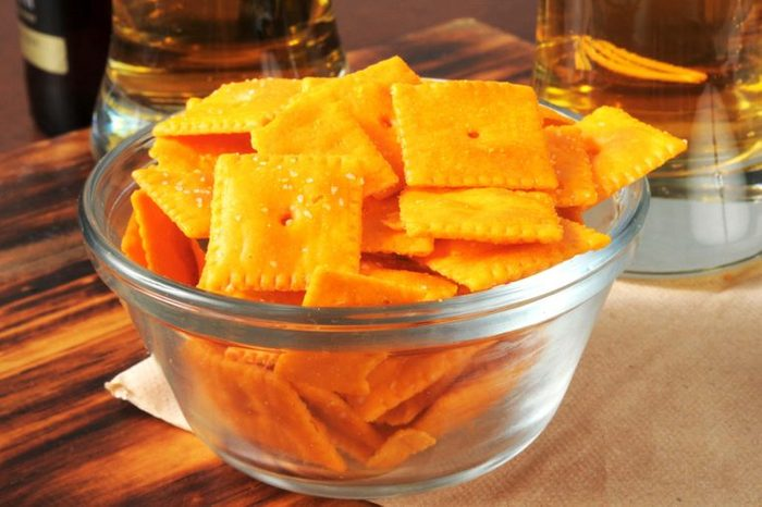 Bowl of bite-size cheese crackers