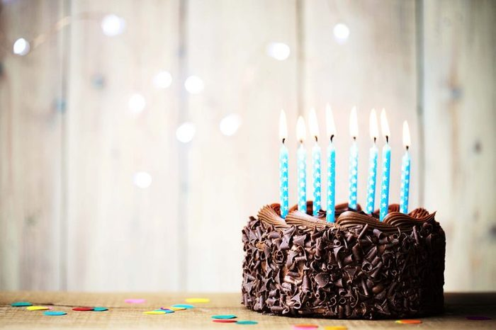 chocolate cake with birthday candles