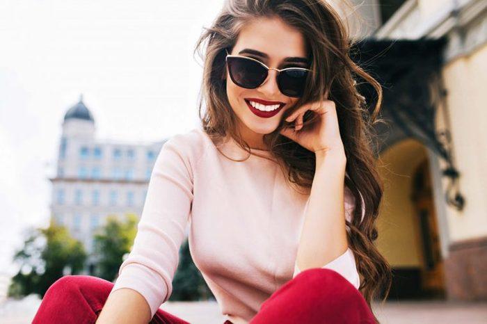 happy woman in sunglasses