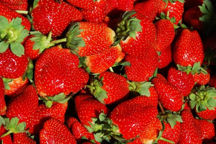Close up of whole strawberries