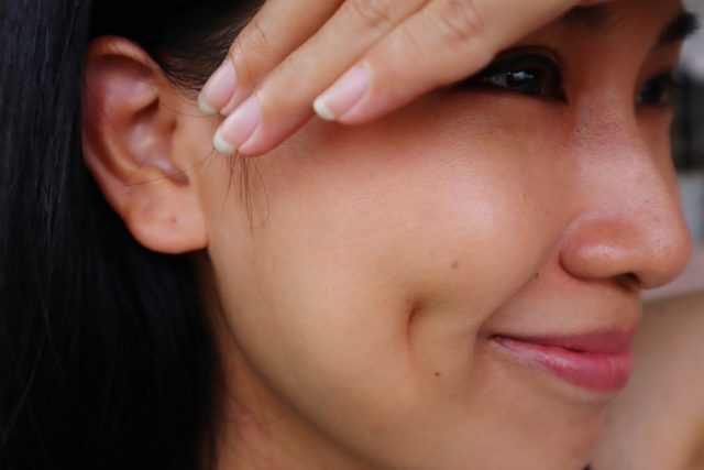close up of woman's dimples