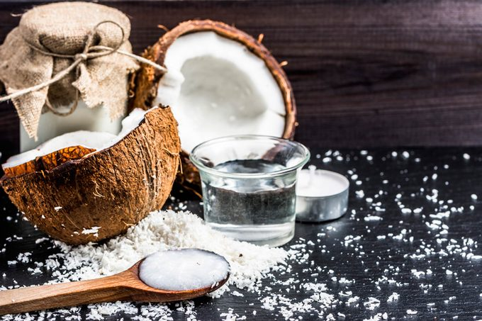 coconut halves with shredded coconut