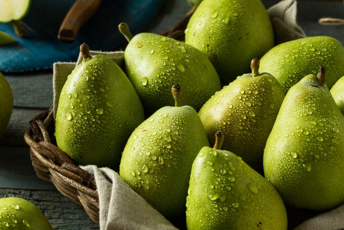 pears glistening with water