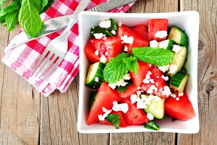 Tomato and cucumber salad with feta cheese.
