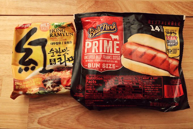 Ramen noodle package and hot dog package