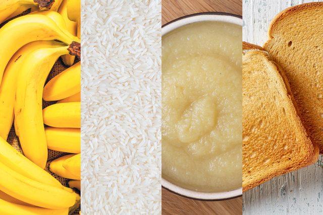 Bananas, rice, apple sauce, and toast, BRAT diet