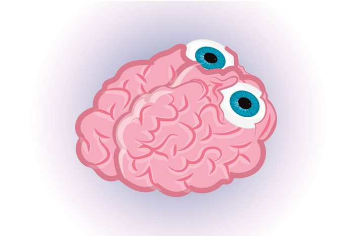 Graphic of human brain with two eyes