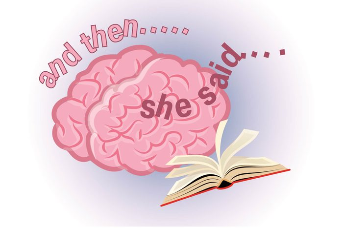 Graphic of human brain with open book