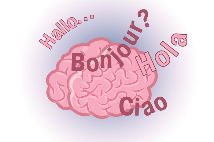 Graphic of human brain with words Hallo, Bonjour, Hola and Ciao