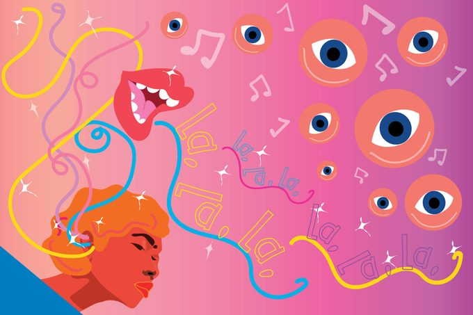 Illustration of woman with synesthesia