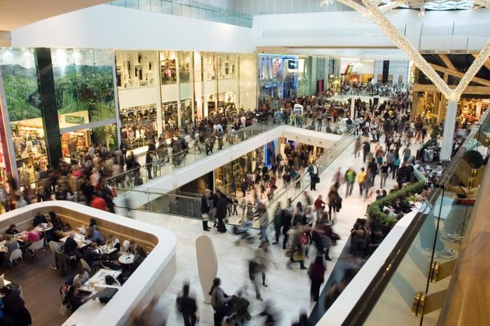 crowded interior of a mall