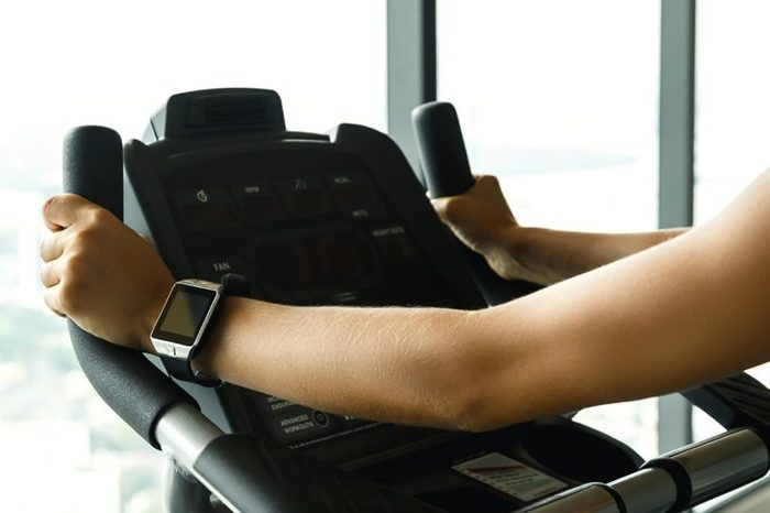 person on an exercise machine