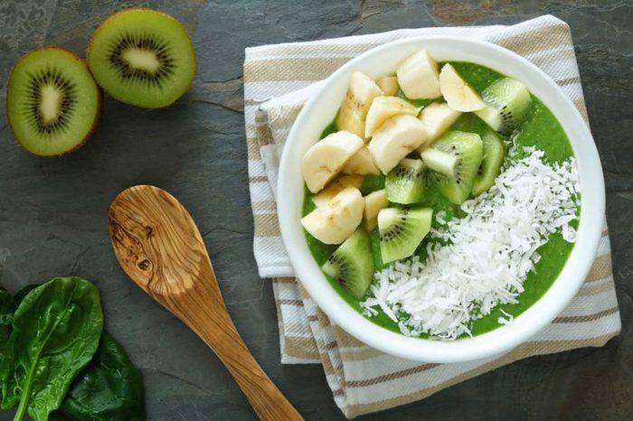 kiwi, banana, coconut over Greek yogurt