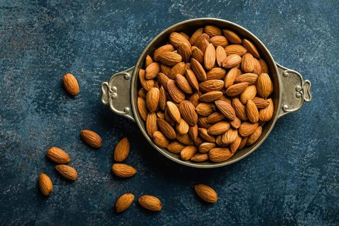 Almonds in a bowl on a table