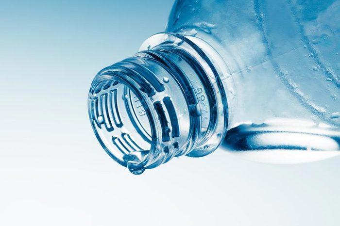 closeup of plastic water bottle