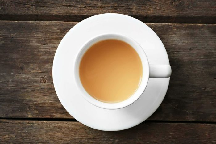 Cup of tea in a white cup.
