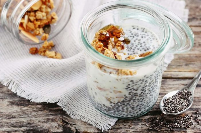 Chia seeds over Greek yogurt