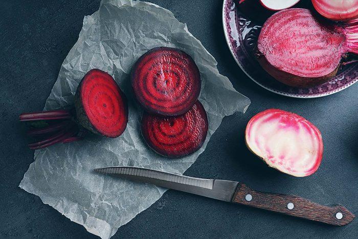 Sliced beets.