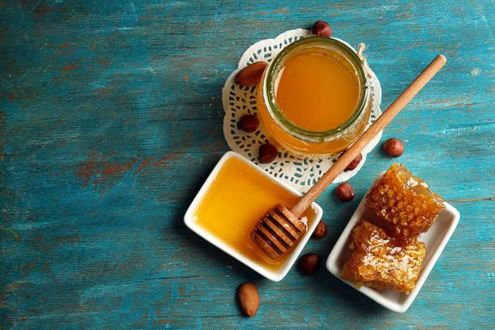 Honey in a tray and honey comb