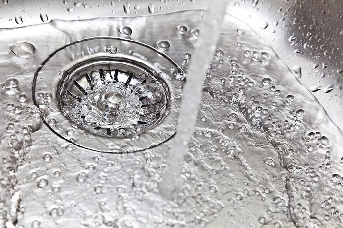 water running into a sink