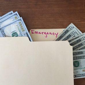 cash in emergency folder