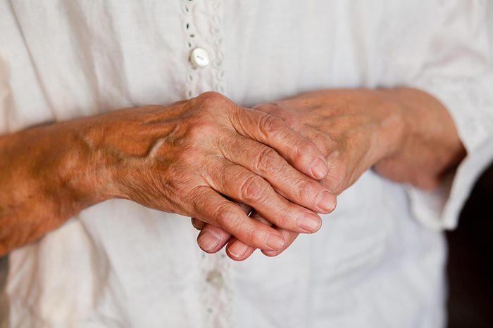 closeup of an elderly woman's hands