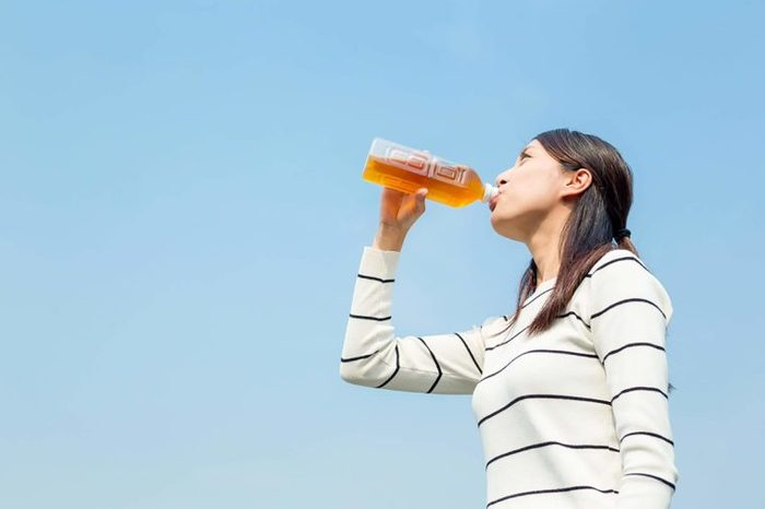 woman drinking green-tea