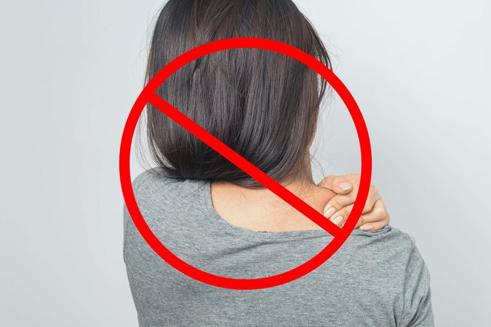 Woman with shoulder pain