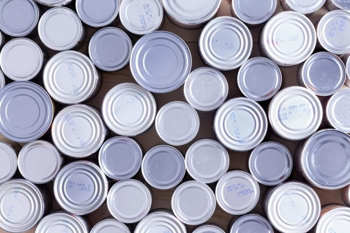 overhead view of canned goods