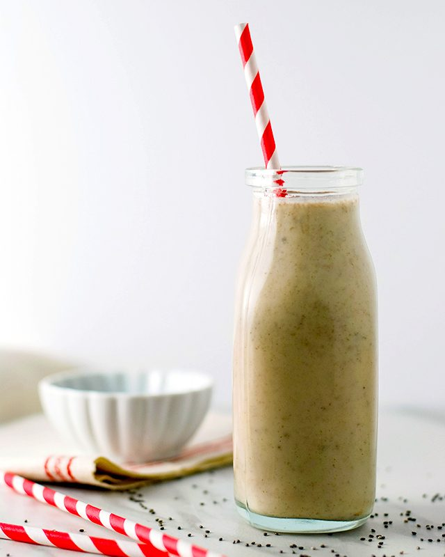 Smoothie with red and white striped straw