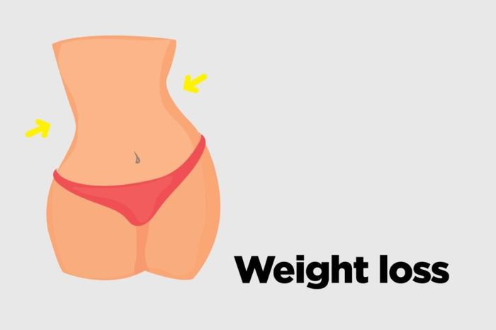 """Illustration of a woman's flat stomach with text """"weight loss."""""""