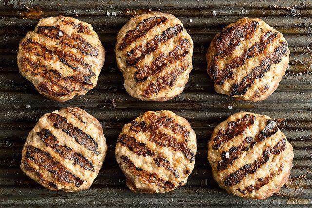 grilled, plain burgers