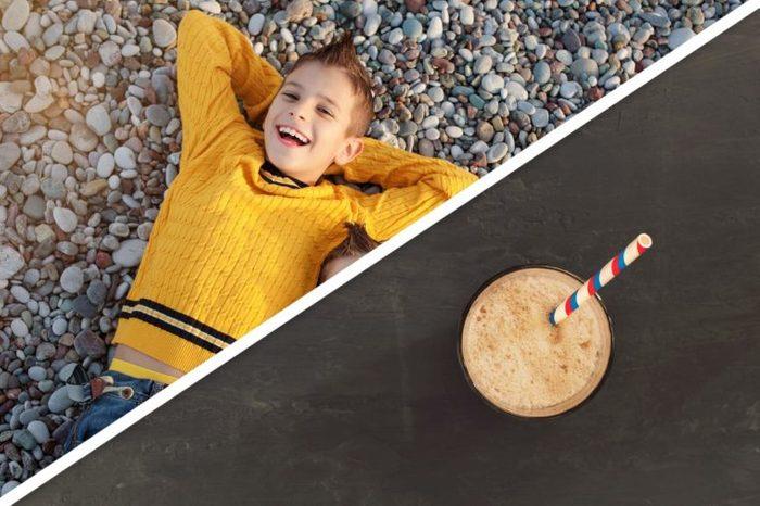boy; brown shake with striped straw