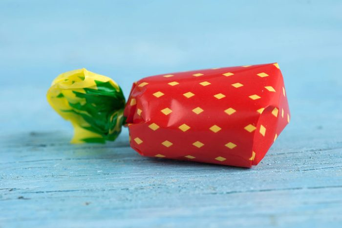 a wrapped piece of hard candy