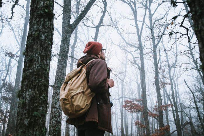 man walking on a dark path through a spooky forest.