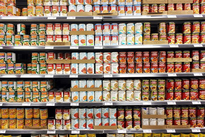 canned-food at grocery store