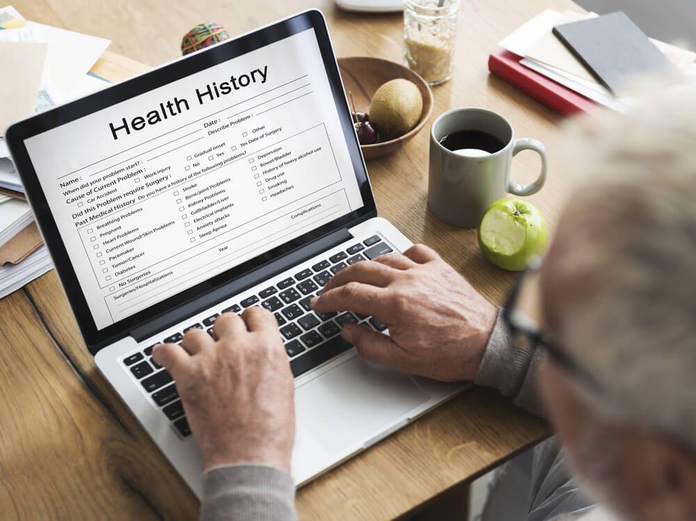 health history on laptop screen