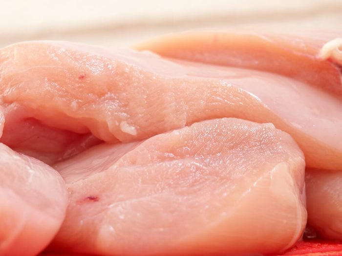 Raw chicken fillets close-up