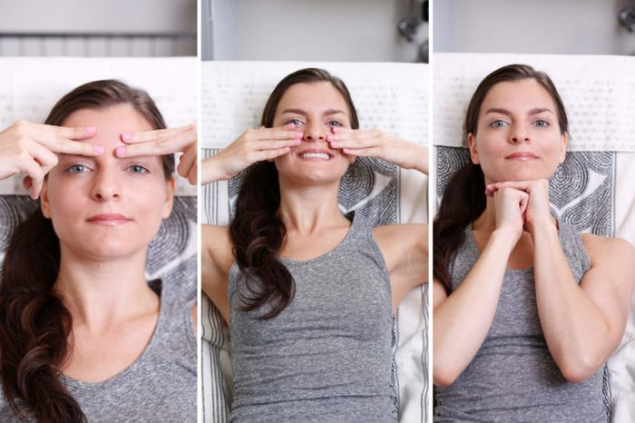 Woman doing various facial exercises to improve her skin.