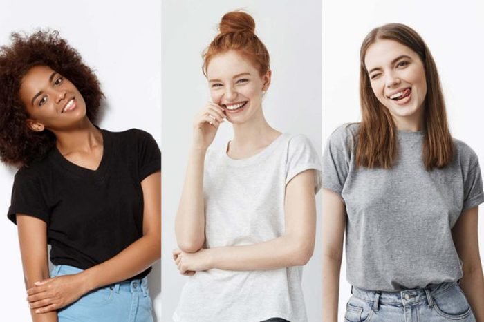 Three women in short sleeve t-shirts.