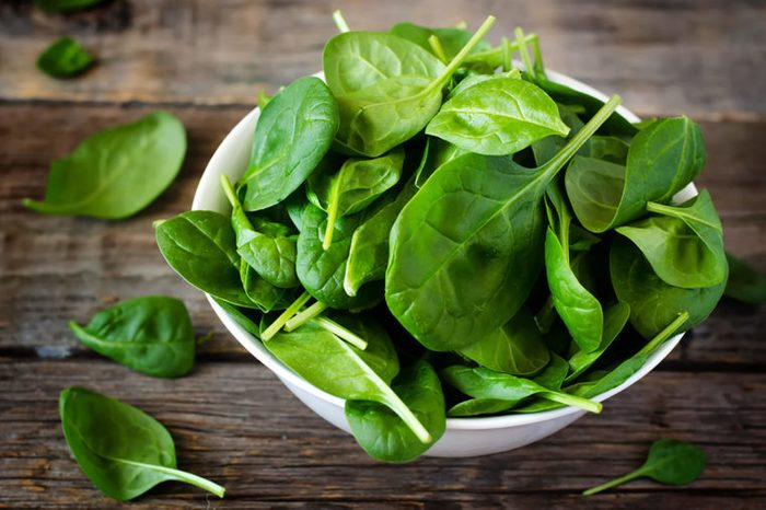 Bowl of spinach leaves