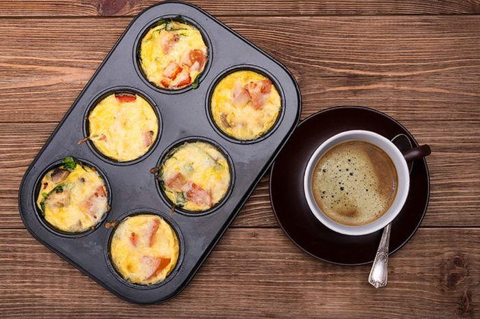 Egg muffins baked in a muffin tin.