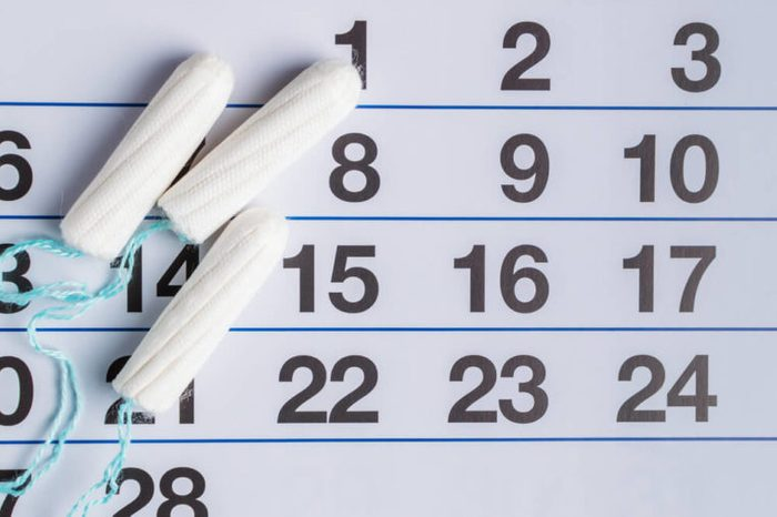 Menstrual calendar with tampons