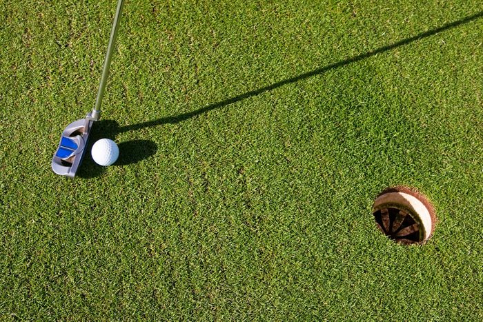 Closeup photo of a short putt. Overhead viewpoint, nobody in the image, with long morning shadows.