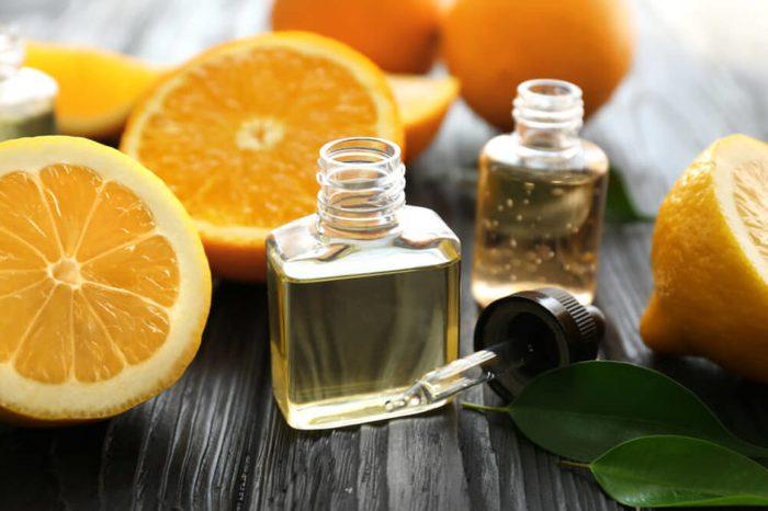Skin oils in small glass bottles