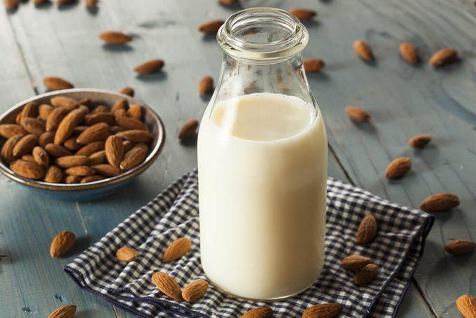 Organic White Almond Milk in a Jug