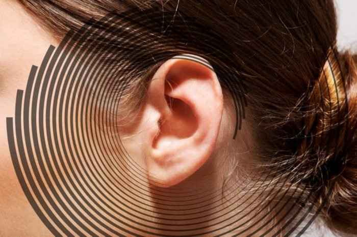 close up of a person's ear