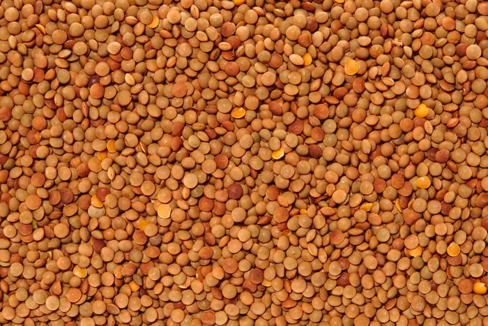 Red Lentils Surface Texture Top View Close up. Pattern Background