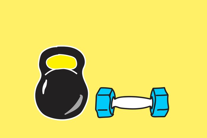 illustration of kettle ball and hand weight